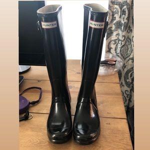 Hunter black rain boots size 7